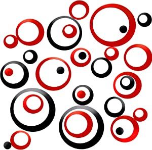 48 Pieces Acrylic Circle Mirror Wall Stickers Round Dots Mirror Surface Wall Decals Modern Art Mural Home Decor, Black and Red