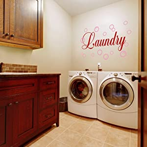 Vinyl Laundry Room Wall Quote Bubble Wall Decal Wall Sticker Wall Graphic Wall Mural Laundry Room Art Decoration A(bubbles:Soft Pink;words:Tomato Red)