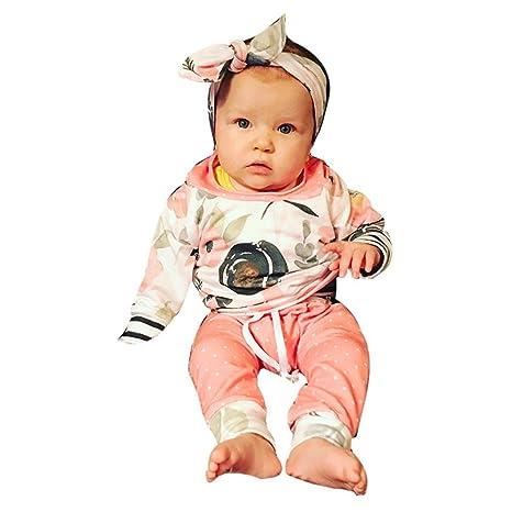 Juego de ropa de bebé, ppbuy Toddler Floral rayas con capucha Tops + Pants +