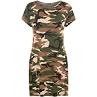WearAll Womens Plus Size Print Baggy Oversized Short Sleeve Long T-Shirt Top