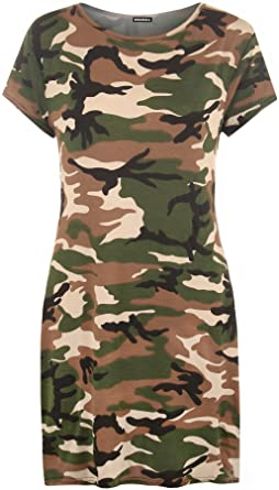 3835076a522c8 WearAll Women's Plus Camouflage Print Top Baggy Oversized Short Sleeve Long  T-Shirt 16-26: Amazon.co.uk: Clothing