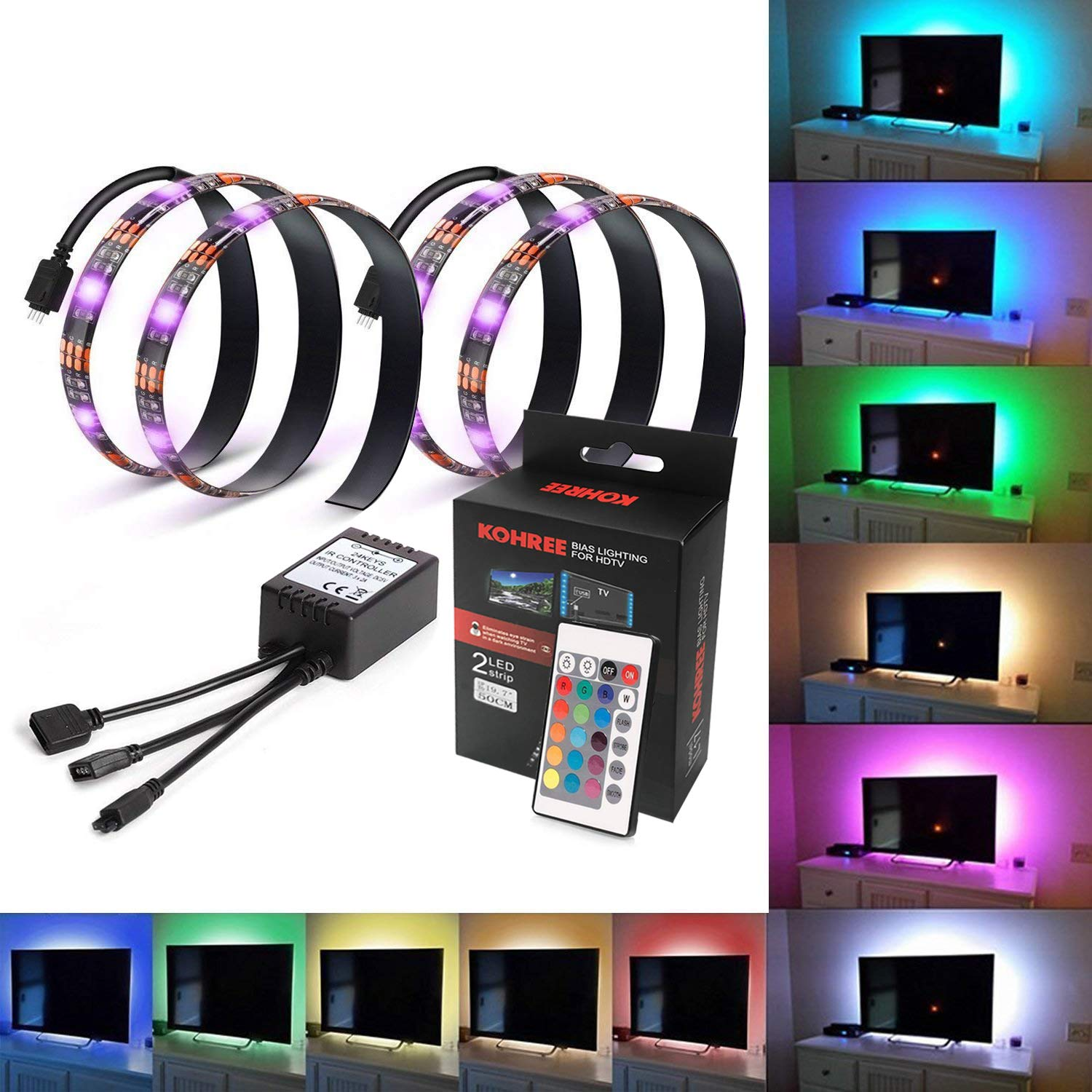 Kohree Tv Backlight Bias Hdtv Usb Powered 2 Rgb Multi Color Led Fader Strip With Remote Control Home Theater Accent Lighting Kits Reduce Eye Fatigue And Increase