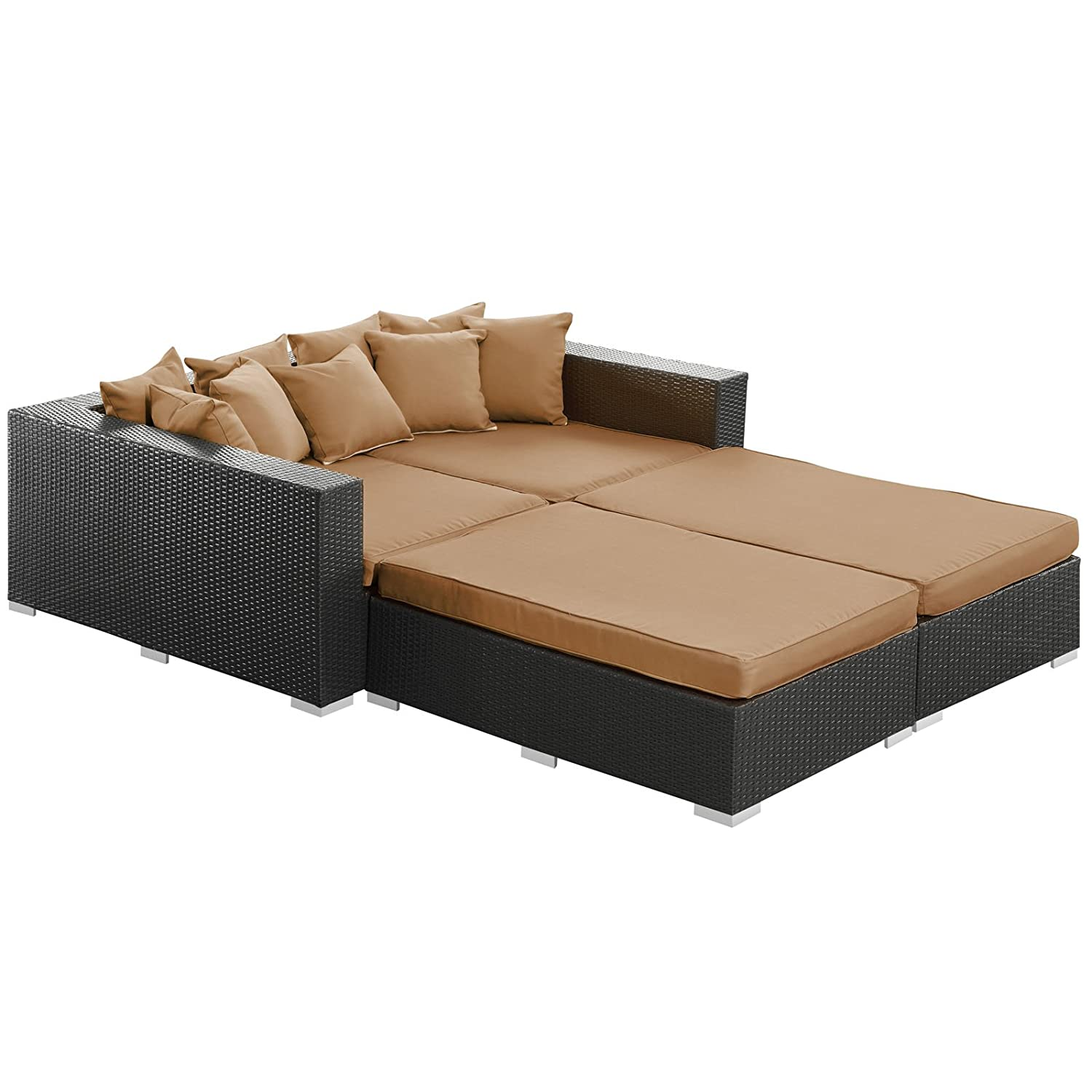 Amazon.com : Modway Palisades Outdoor Wicker Patio Daybed 4 Piece Set In  Espresso With Mocha Cushions : Outdoor And Patio Furniture Sets : Garden U0026  Outdoor