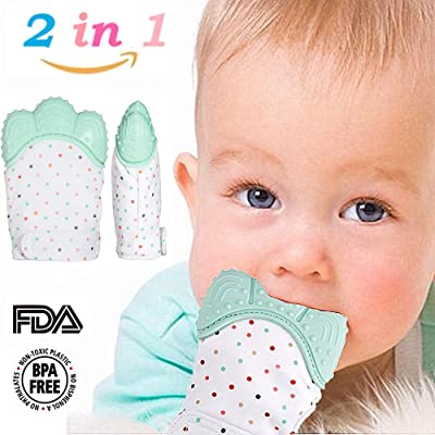 Baby Teething Mitten for Babies between 4 ~ 12 Months, BPA-Free Food Grade Silicone Gum Relief Teething Gloves, for Protecting Babies from Hand-Chewing, Biting and Saliva(1 Pair)