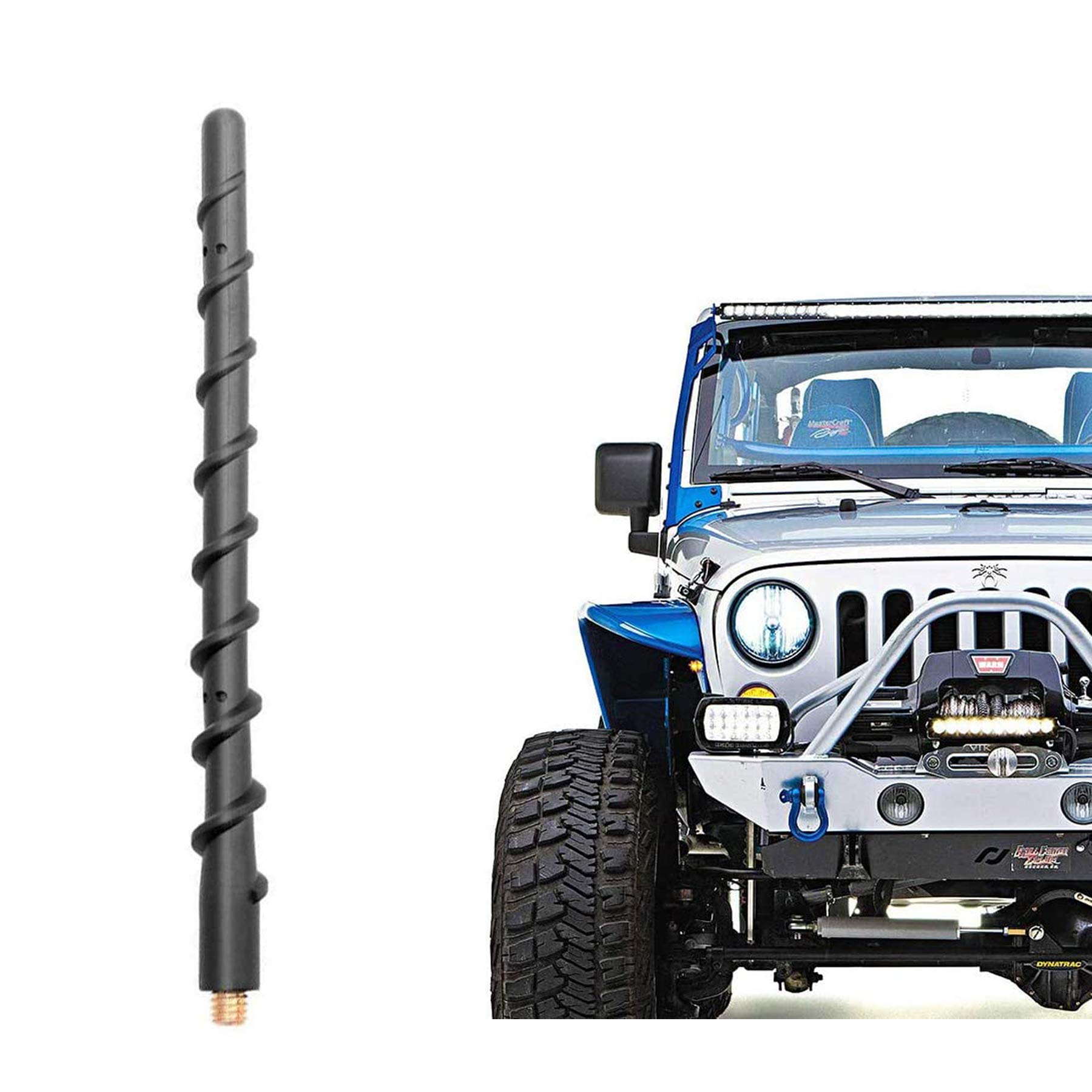 VOFONO 9 Inch Spiral Antenna Compatible with Jeep Wrangler JK JKU JL JLU Rubicon Sahara Gladiator(2007-2021) | Flexible Rubber Short Antenna Replacement | Designed for Optimized Radio Reception