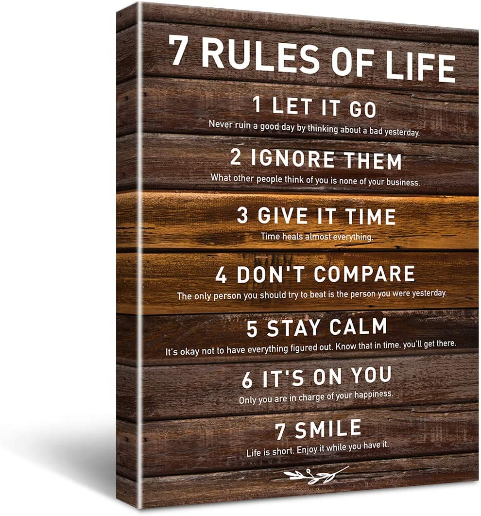 HIjie Inspirational 7 Rules of Life Quotes Theme Canvas Wall Art for Office Studios School Dorm Wall Décor, Inspirational Motivational Living Room Bedroom Office Home Decor