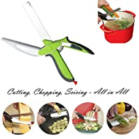 Clever Kitchen Scissors Cutter 2-in-1 Food Chopper - Replace your Kitchen Tools and Cutting Boards,Baby Food Supplement Scissors