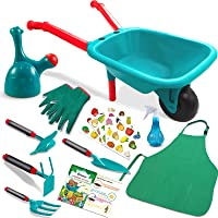 Qtioucp Kids Gardening Tools Outdoor Toys Set Backyard Play with Wheelbarrow, Apron, Watering Can, Hand Rake and More…