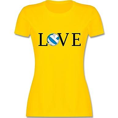 Shirtracer Volleyball - Volleyball Liebe Love - S - Gelb - L191 - Damen T-