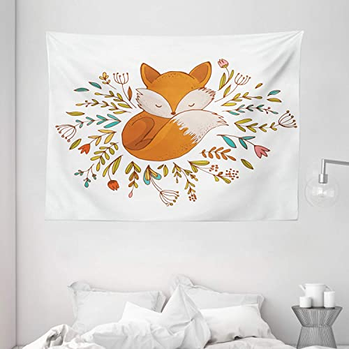 Ambesonne Cartoon Tapestry, Baby Fox Sleeping in a Floral Made Bed Circle Art Print, Wide Wall Hanging for Bedroom Living Room Dorm, 80 X 60 , Dark Orange
