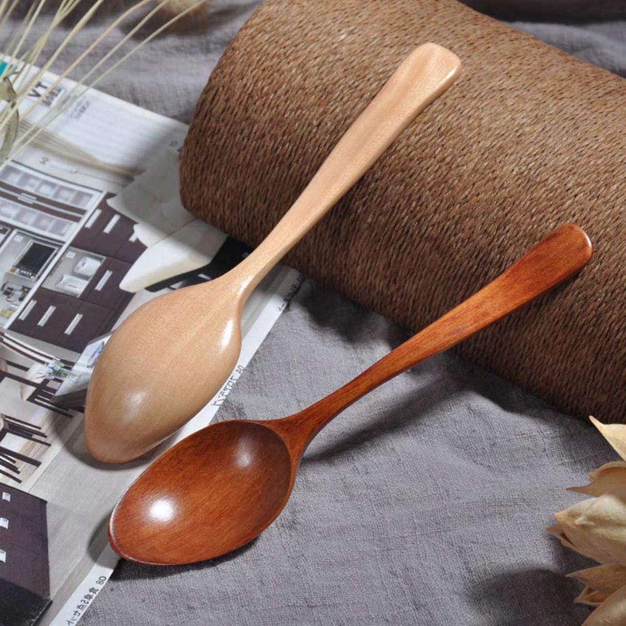 dryujdytru Rentable Natural Cocina Madera Cuchara Sopera Saludable Madera Cuchara Arroz Cuchara Infantil Vajilla para Hogar Decoraci/ón H02