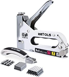 WETOLS Staple Gun with Remover, Heavy Duty Staple Gun, 3 in 1 Manual Nail Gun with 3000 Staples(D, U and T-Type), for Upholstery, Material Repair, Carpentry, Decoration, Furniture, DIY WE-809
