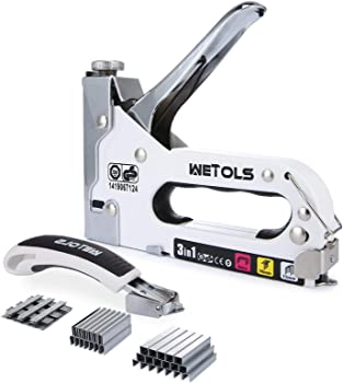 Wetols 3 in 1 Manual Nail Gun 3000 Staples with Remover