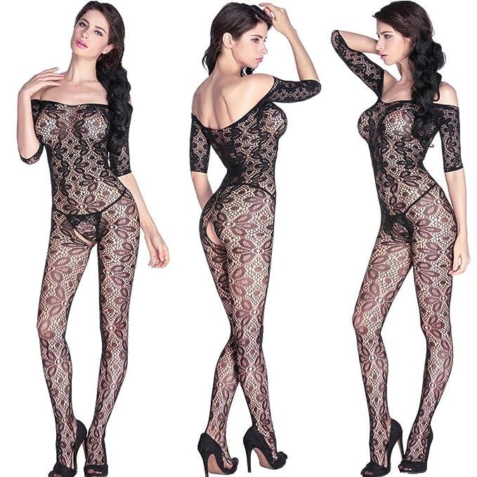 43397d810 PASATO Women Open Crotch Body Stockings Perspective Underwear Pajama (Free  Size