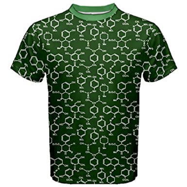 CowCow Green Organic Chemistry Pattern with Formulas Mens Sport Mesh Tee, Green-XS