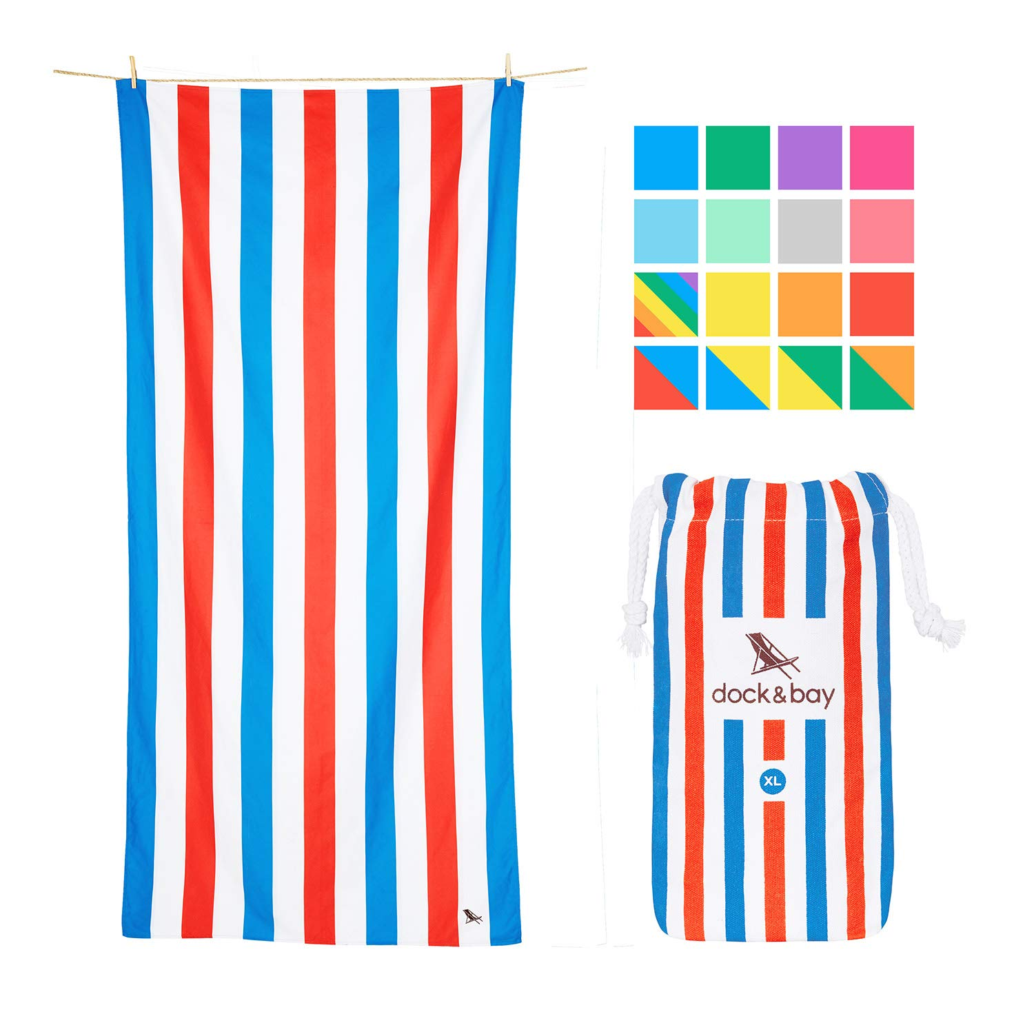 Dock & Bay Big Beach Towels Quick Dry - Pool Side Parties, Extra Large (200x90cm, 78x35) - USA Colors Striped, Compact Swim Towel, Pool Towel