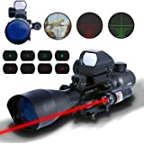 AR15 Tactical Rifle Scopes 4-12x50EG Illuminated Range Finder Reticle Illuminated and Red Green Dot Sight with Laser 22&11mm Weaver/Picatinny Rail Mount