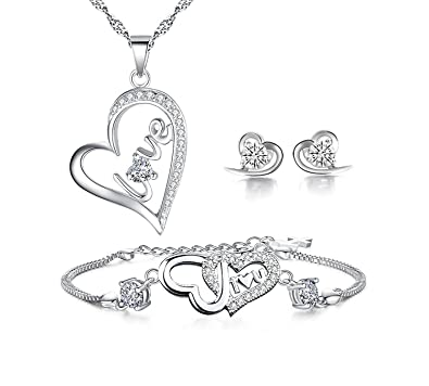 Amazon.com  Forfamilyltd Set of 925 Sterling Silver Womens Love ... b3fd90d8aa34