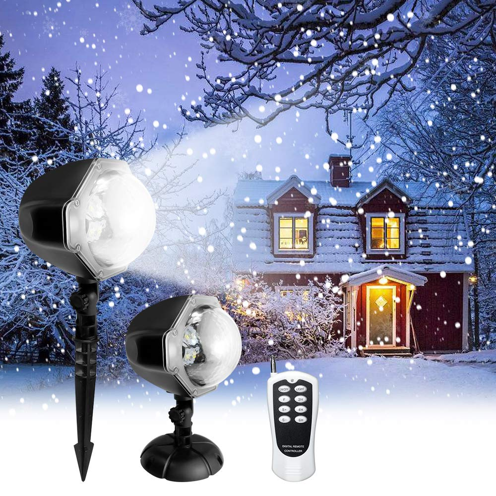 Snowfall LED Light Projector,Christmas Rotating Snowflake Projector Lamp with Remote Control,Snow Effect Spotlight for Garden Ballroom, Party,Halloween,Holiday Landscape Decorative (White) by Frebw