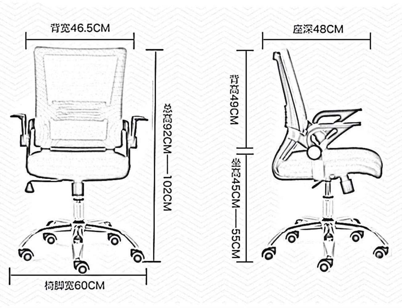Barstolar Xiuyun ergonomisk kontorsstol nät datorstol skrivbordsstol hopfällbar armstöd latexkudde hem skrivbordsstol med lutningsfunktion bärande vikt 120 kg gRÖN Svart