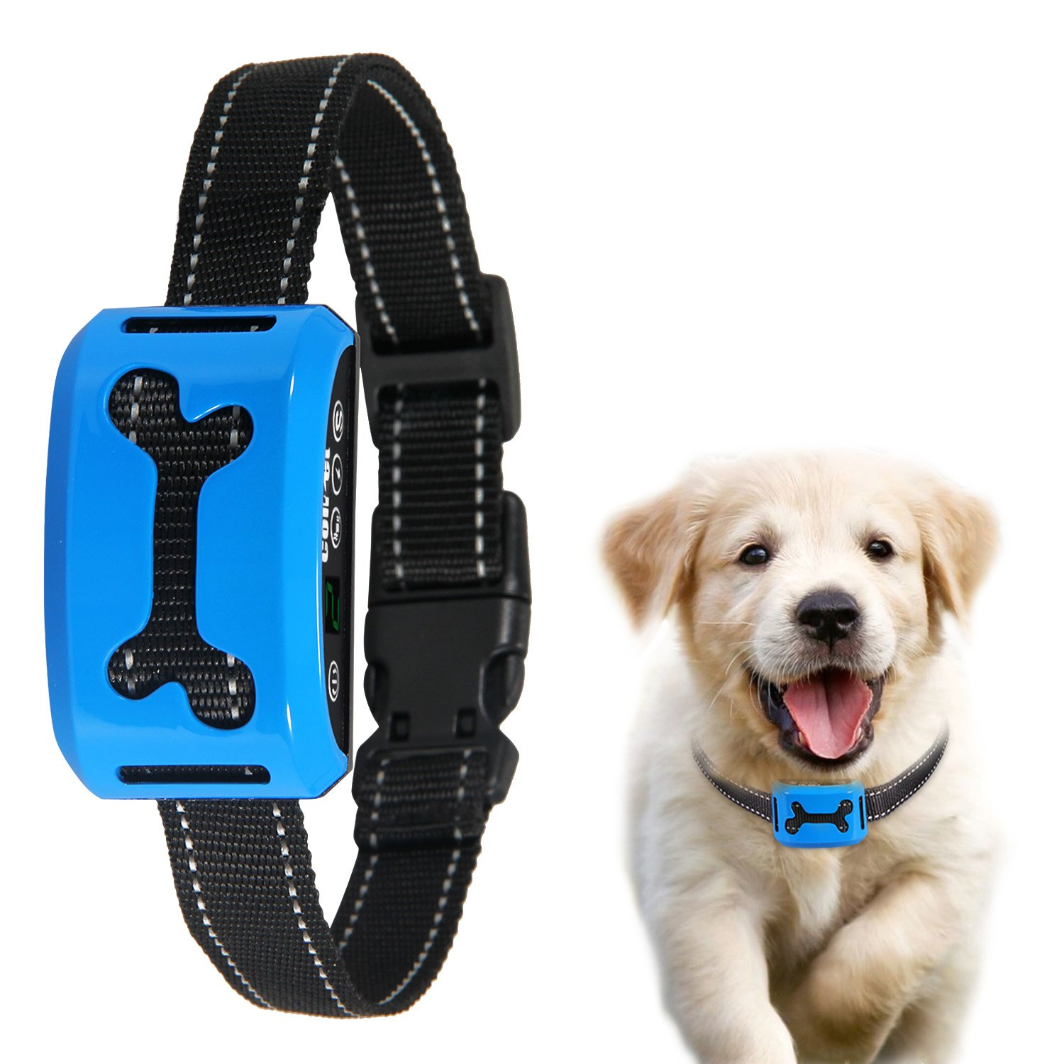 No Bark Collar, ColPet Rechargeable Anti Bark Collar Beep / Vibration / Safe Static Shock 7 Sensitivity Levels Bark Training Collar Reflective Strap for 15-150Ib Dogs