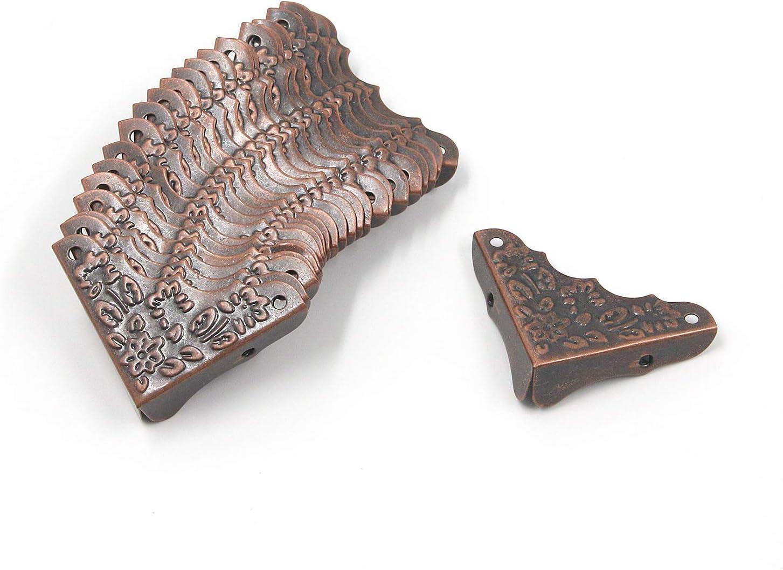 "Antrader Metal Decorative Case Box Corner Furniture Edge Guard Corner Protector, 1.4""x 1.4"" Copper Tone, Pack of 24"