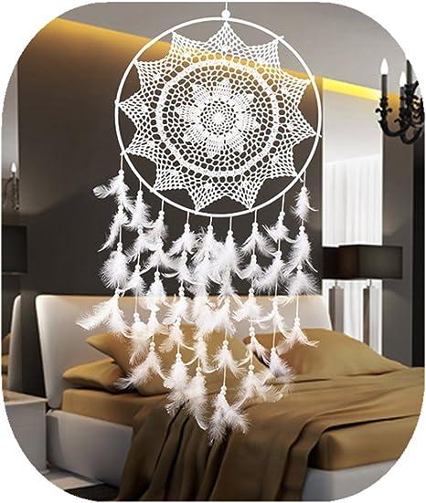 Dream Catcher Hanging Decorazione della Parete di Tessuto Handmade Large White Dream Catcher con Piume per Camera