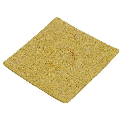 Esponja de soldador - SODIAL(R)50Pzs Amarillo 60x60x3mm Esponja de limpieza de soldador