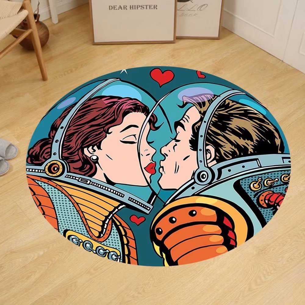 Gzhihine Custom round floor mat Love Decor Space Man and Woman Astronauts Kissing Science Cosmos Fantasy Couple Pop Art Style Artful Print Bedroom Living Room Dorm Multicolor