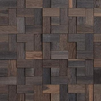 5.5 Sq Ft Solid Oak Wood Timberwall Wood Wall Mosaic Tile Glued Application Mosaic Collection Basketweave Oak Brown