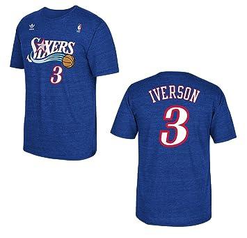 b88724e6d adidas Philadelphia 76ers Allen Iverson Blue Tri-Blend Heathered Camiseta  (L)  Amazon