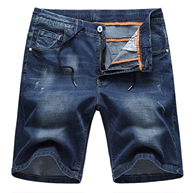 31d5bbb7dc3 SUSIELADY Men s Denim Shorts Pants 5 Pocket Casual Ripped Distressed  Straight Fit Jeans Short for Men