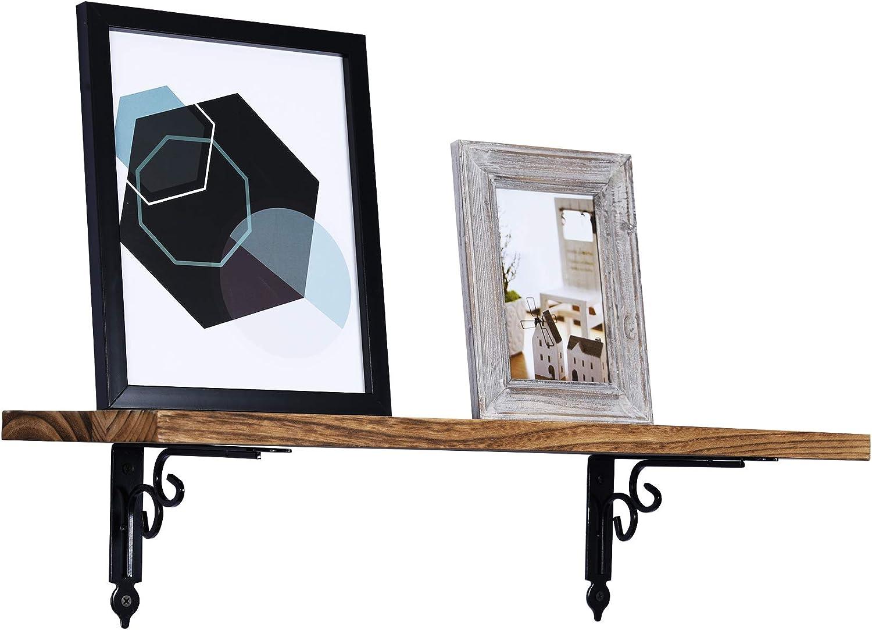 negro para estantes en /ángulo recto 4 unidades, acero resistente Soportes decorativos para estantes