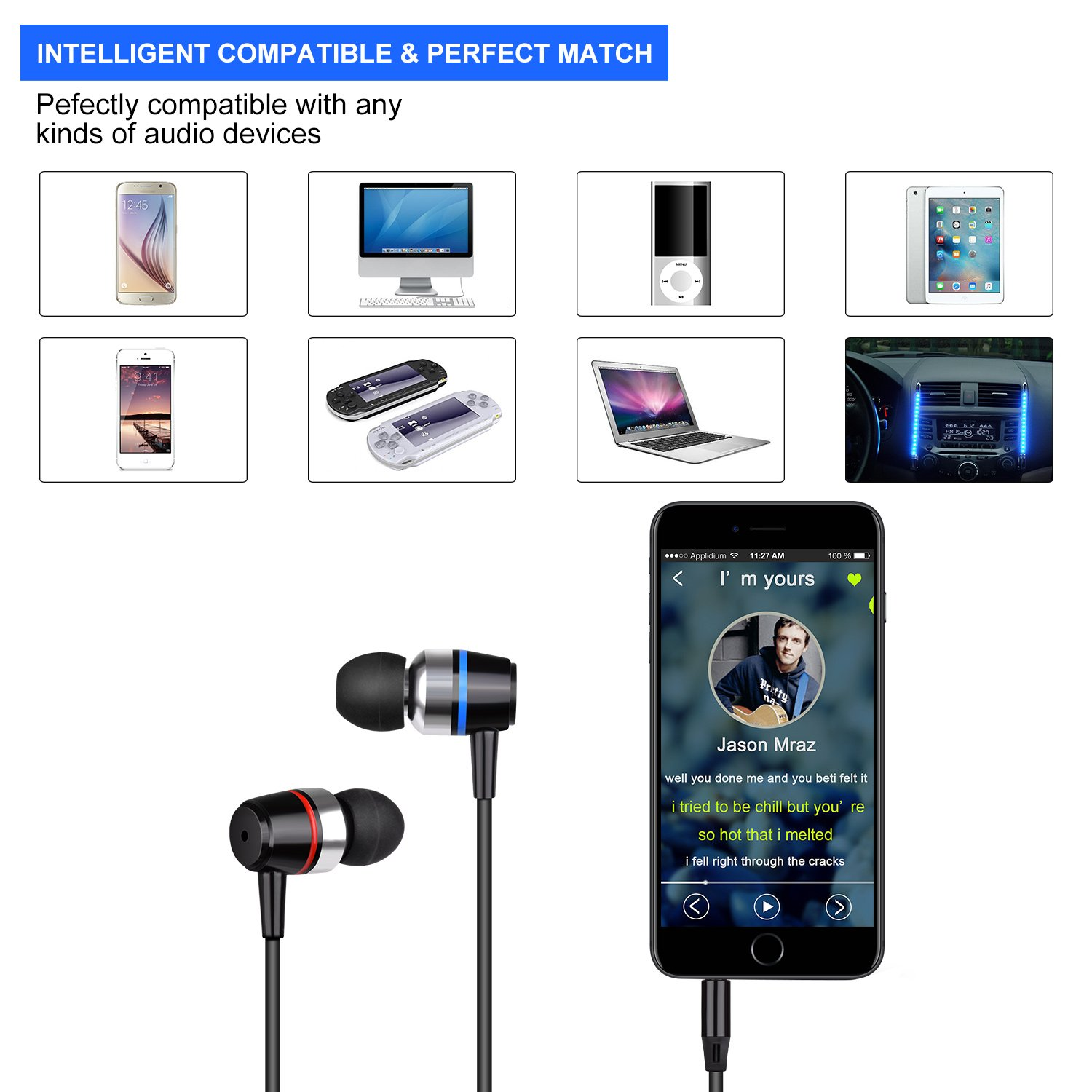 Earbuds Ear Buds Wired Earphones Headphones with Microphone Noise Cancelling Ear Phones Stereo in Ear Headphones Sports Earbuds with Mic and Volume Control Compatible iPhone Android iPad Laptop by TZCER (Image #5)