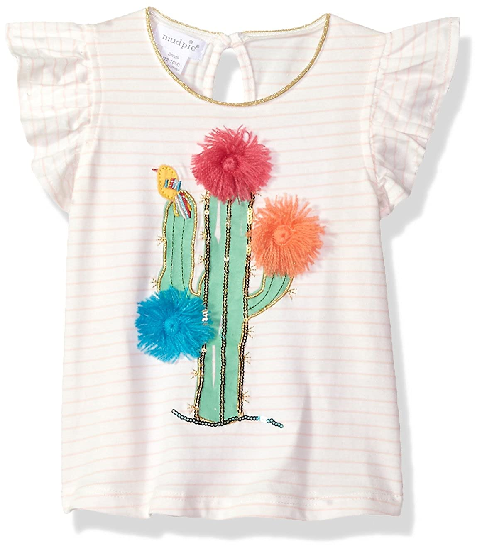 Mud Pie Baby Girls Cactus Stripe Flutter Sleeve T-Shirt Tunic