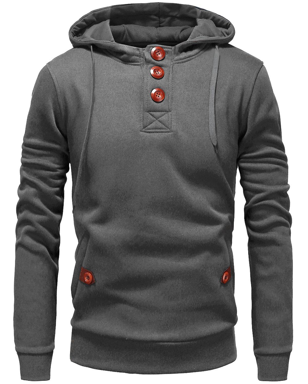 Trensom Men's Long Sleeve Pullover Hoodie Hooded Sweatshirt Hoody Lightweight Jacket Grey Medium
