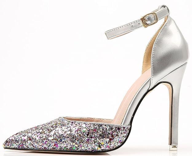 BIGTREE D'Orsay Kleid Pumps Damen Knöchelriemen Pumps von Glänzend Pailletten Spitze Zehen Schuhe Mehrfarbig 37 EU ntfcI3F
