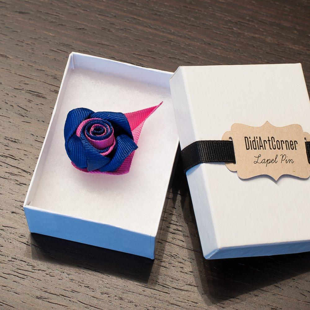 Taffy Pink and Ultramarine Blue Rose Lapel Pin Boutonniere