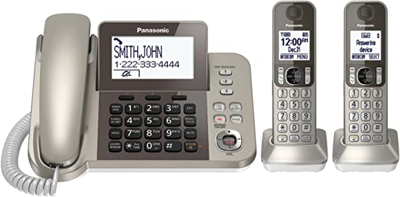 PANASONIC Corded / Cordless Phone System with Answering Machine and One Touch Call Blocking – 2 Handsets - KX-TGF352N (Champagne Gold)