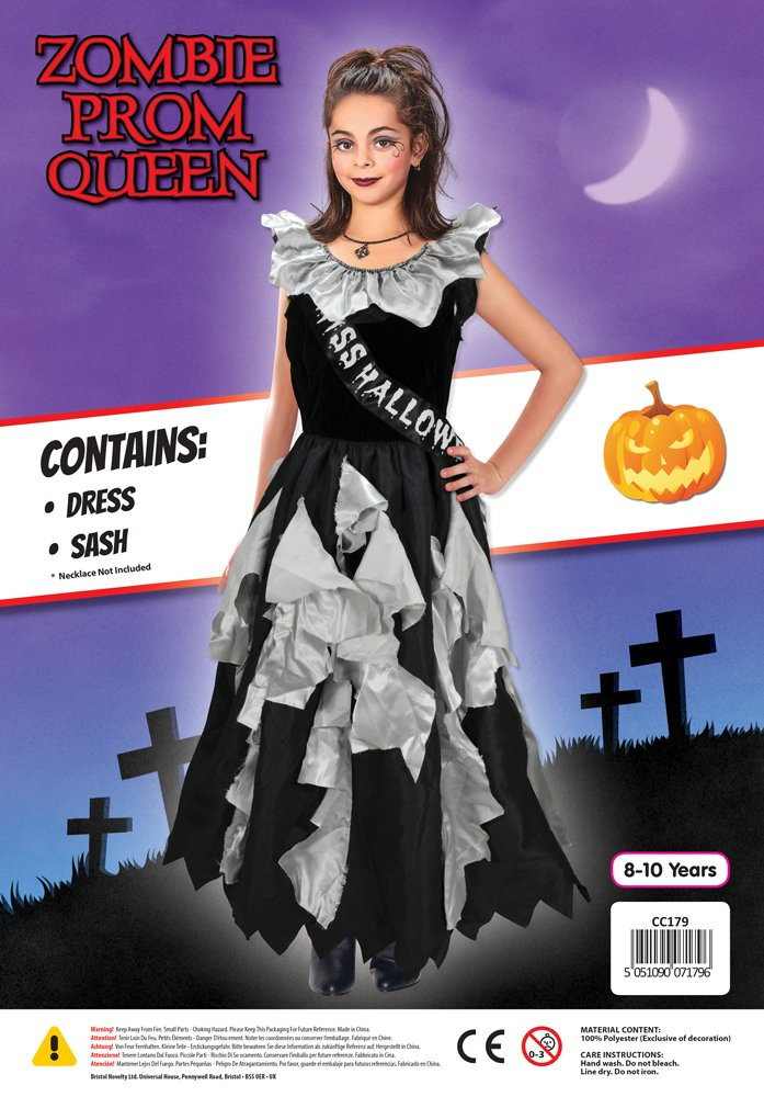 Amazon.com: Bristol Novelty CC179 Zombie Prom Queen Costume, Grey, Medium, 122 - 134 cm, Approx Age 5 - 7 Years, Zombie Prom Queen: Toys & Games