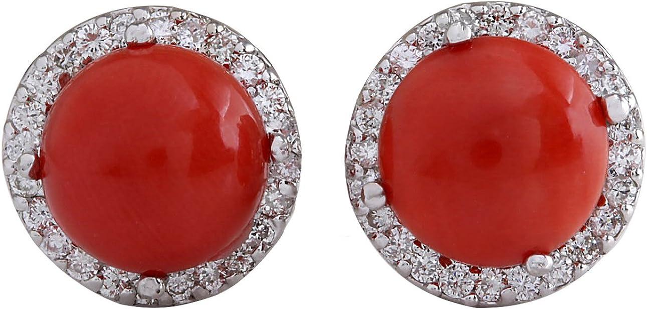 5.89quilates Natural rojo Coral y Diamond 14K oro blanco pendientes para mujer fabricado en Estados Unidos exclusivamente por Fashion Strada