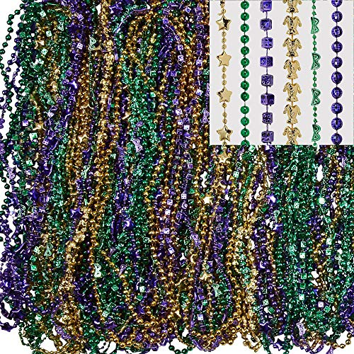 Amscan Mardi Gras Bead Necklaces, Carnival Party Supplies, 3 Assorted Colors, 30
