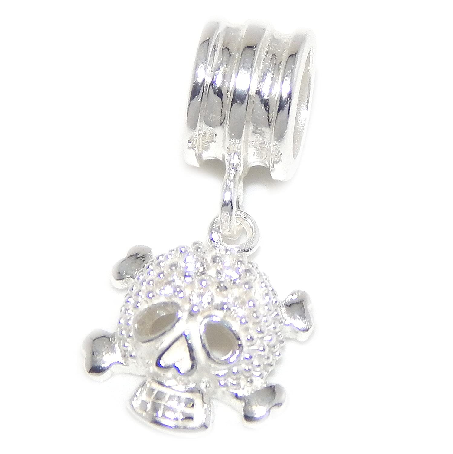 ICYROSE Solid 925 Sterling Silver Dangling Skull and Crossbones with Clear CZ Charm Bead