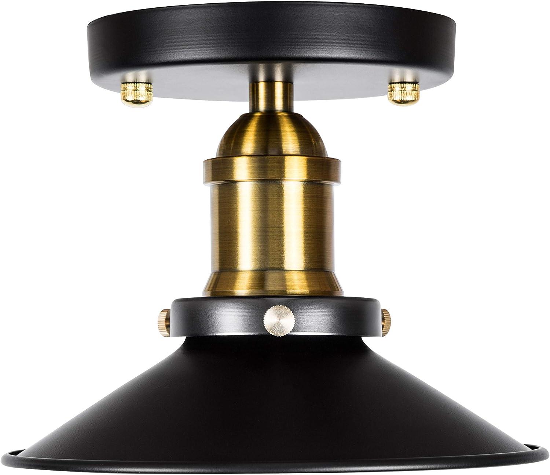 Hyperikon Rustic Ceiling Lamp, 7 Inch Metal Shade, Semi Flush Mount Light Fixture, Black Hardwired