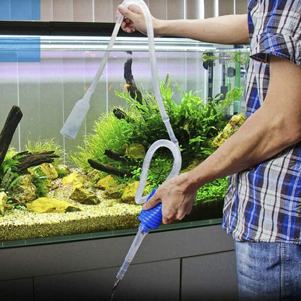 Ogquaton Aquarium Vacuum Water Changer Gravel Cleaner Fish Tank Manual Siphon Pump Cleaning Tool Blue Durable and Practical