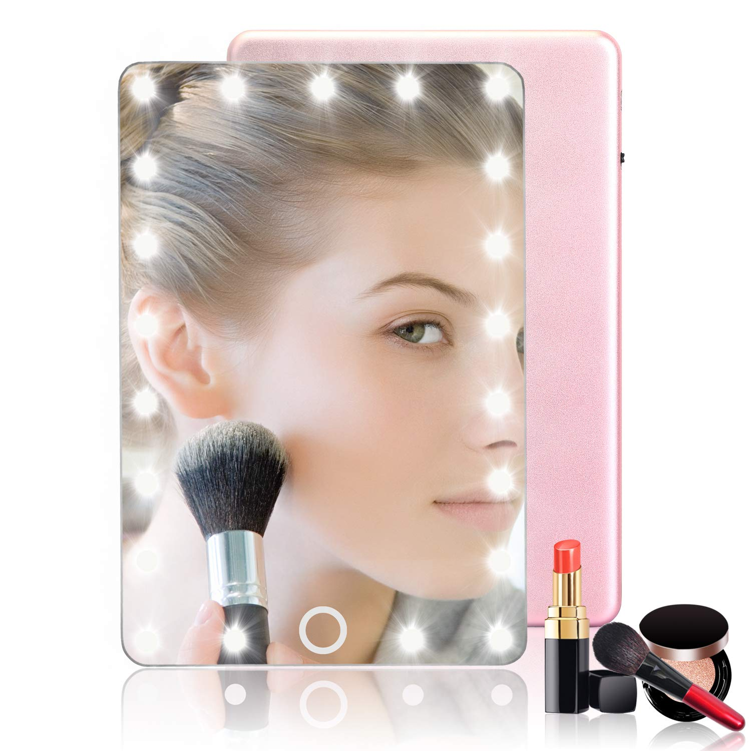 Ledess Led Travel Makeup Mirror with Light,8 Inch Lighted Mirror,HQ Glass Mirror & Anodic Aluminum Back Cover,Touch Screen Dimmable,USB Rechargeable,Compact & Portable,For Travel & Gift(Rose Gold)