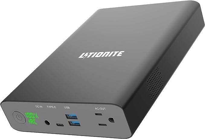 Litionite Dragon 130W / 60000mAh Power Bank/Mini Generador de energía/Batería Externa - 1x AC toma de corriente - 2x USB - 1x USB Type-C - Cargador para Teléfono/Ordenador portátil/Drone/Cámara/Tablet