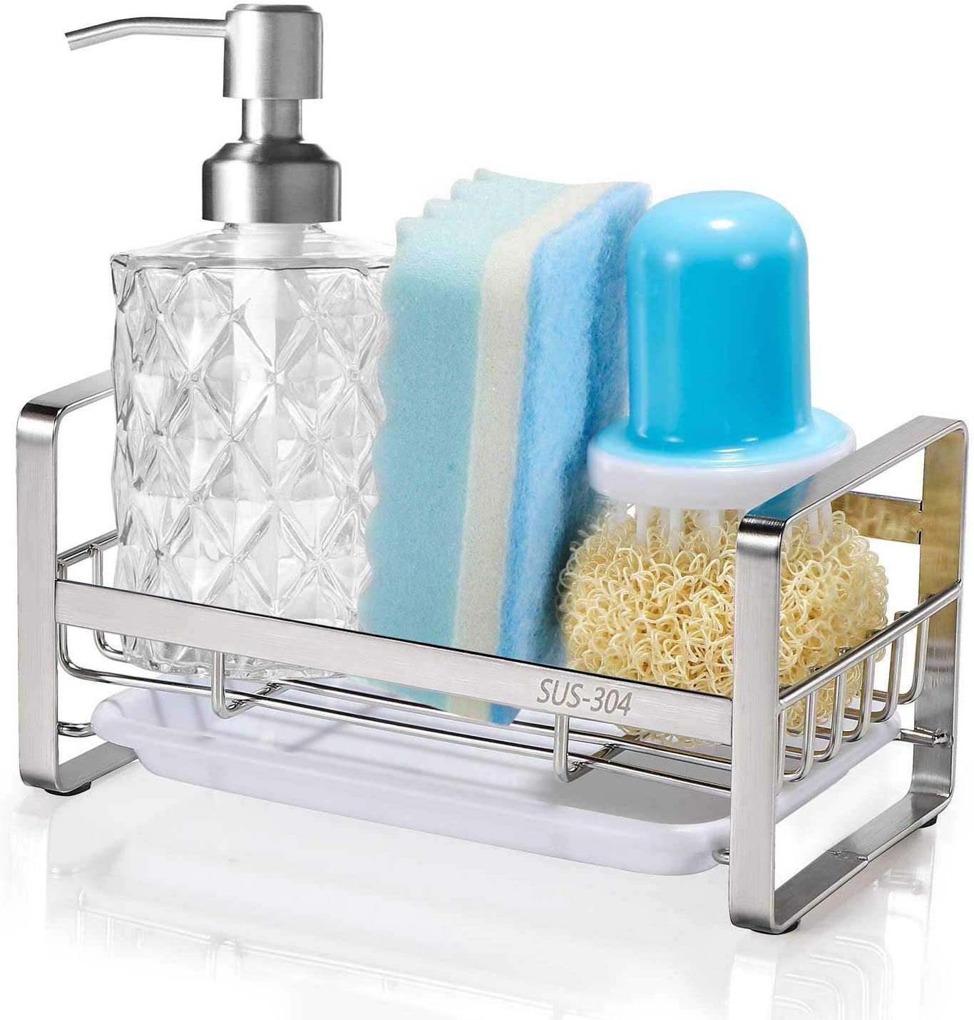 Sponge Holder, HULISEN Kitchen Sink Organizer, Sink Caddy, Sink Tray Drainer Rack, Brush Soap Holder with Removable Tray