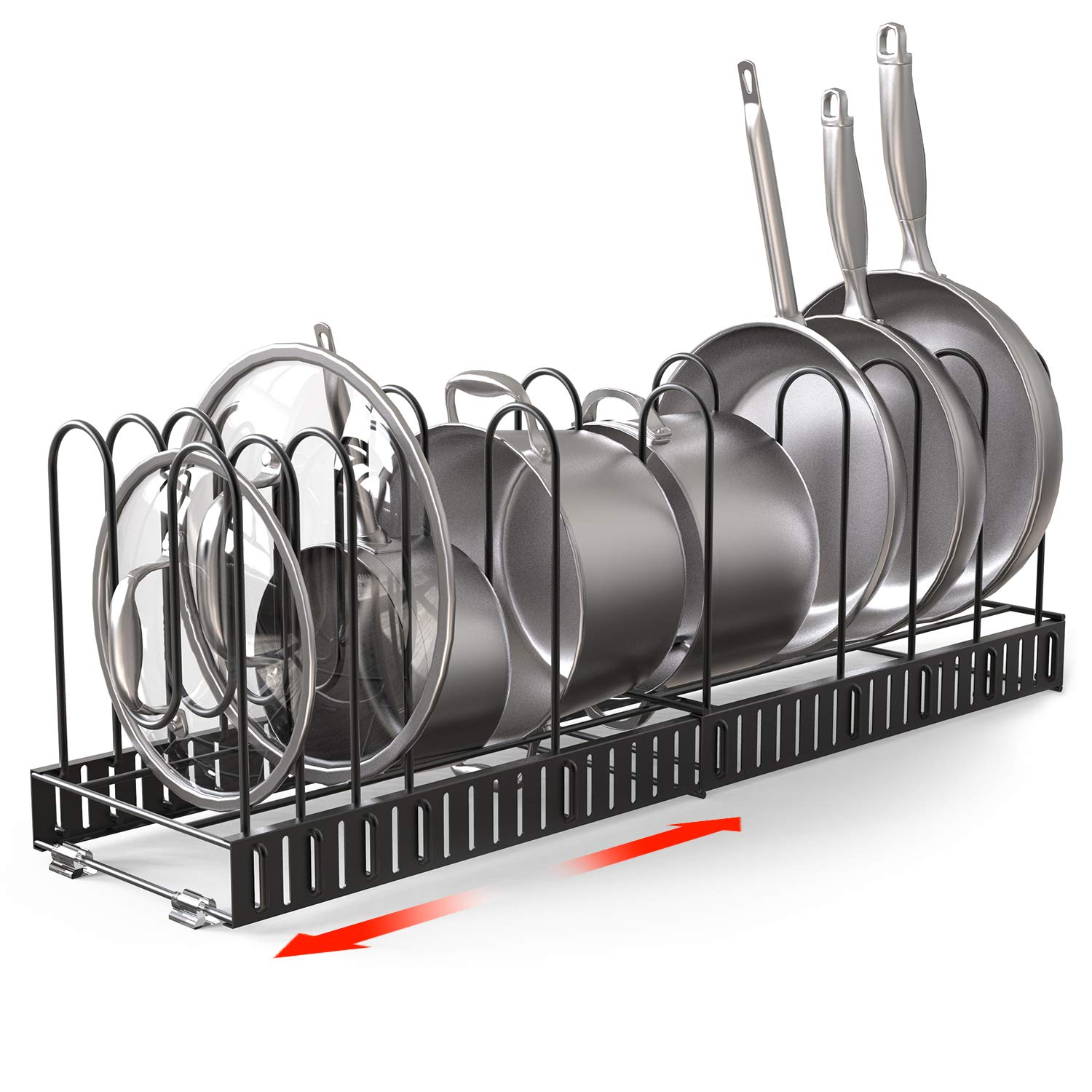Vdomus Extensible Pot Rack Organizer with 4 DIY Methods, Length Adjustable and Max Extended to 31 inches 13+ Pans Holder, Black Metal Kitchen Cabinet Pantry Pot Lid Holder by Vdomus