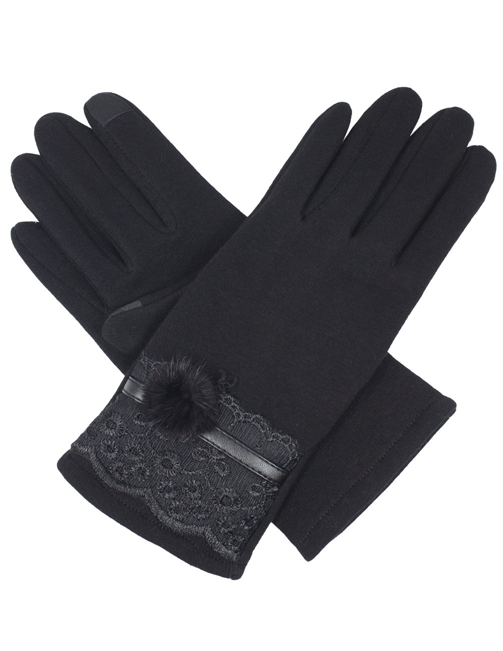 Dahlia Women's Lined Touchscreen Gloves - Faux Fur Lace Cuff Gloves - Black